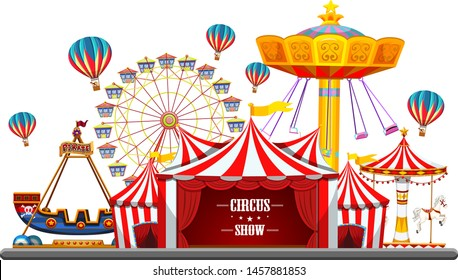 Circus event with tents, ferris wheel, rides games, ticket booth pirate ship isolated illustration