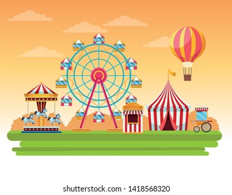 Circus fair festival scenery with big wheels and hot air balloon cartoon vector illustration graphic design
