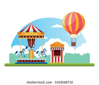 Circus fair festival scenery with carrousel and hot air balloon cartoon vector illustration graphic design
