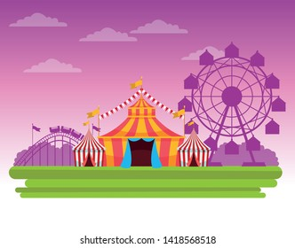 Circus fair festival scenery with tents and big wheel cartoon vector illustration graphic design