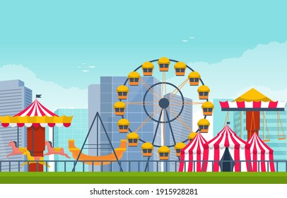 Circus Ferris Wheel Amusement Park Happy Holiday Illustration