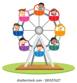 Circus ferris wheel. Vector illustration of diversity kids riding a ferris wheel.