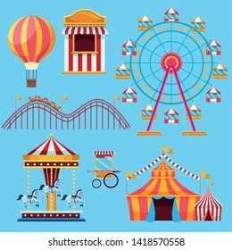 Circus and festival set of icons cartoons on blue background vector illustration graphic design