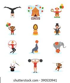 Circus flat design carnival fun fair icons set