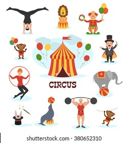 Circus flat design collection with with carnival fun fair and icons set