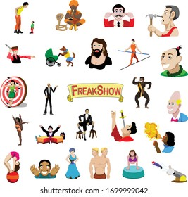 Circus Freaks Sideshow Entertainers Vector Flat Illustration Set