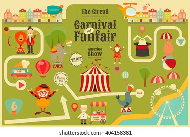 Circus Funfair and Carnival Poster on City Map in Vintage Style. Cartoon Style. Circus Animals and Characters. Vector Illustration.