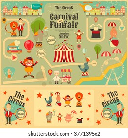 Circus Funfair and Carnival Poster in Vintage Style. Cartoon Style. Circus Animals and Characters. Vector Illustration.