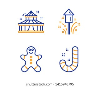 Circus, Gingerbread man and Fireworks icons simple set. Candy sign. Attraction park, Christmas cookie, Christmas pyrotechnic. Lollypop. Holidays set. Linear circus icon. Colorful design set. Vector