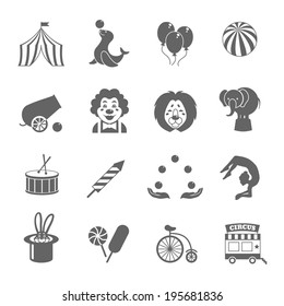Circus graphic pictograms of juggling sealion acrobat stunt collection black icons set isolated vector illustration