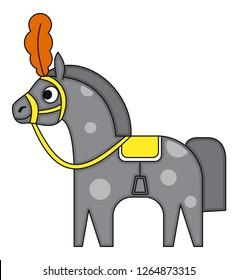 Circus gray horse in cartoon flat style