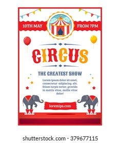 Circus greatest show poster template. Cartoon vector illustration.