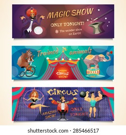 Circus horizontal banner set with magic show and animals alvertising isolated vector illustration
