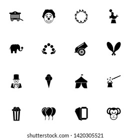 Circus icon - Expand to any size - Change to any colour. Perfect Flat Vector Contains such Icons as clown, cannon, monkey, elephant, fur seal, magician, juggling, pop korn box, ice cream, ticket, tent