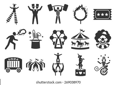 Circus icon set. Included the icons as twin, carousel, acrobatics, juggling, ticket, performer and more.