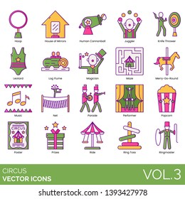 Circus icons including hoop, house of mirrors, human cannonball, juggler, knife thrower, leotard, magician, maze, merry go round, music, parade, performer, popcorn, prize, ride, ring toss, ringmaster.