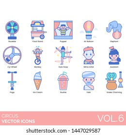 Circus icons including roulette, food stand, puppet, air balloon, elephant, cyr wheel, monkey, hula hoop, mime artist, assistant, pogo, ice cream, slushie, fakir, snake charming.