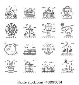 Circus icons set in linear style. Amusement park design elements collection, vector illustration. With clown, children train, carousel, juggler