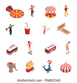 Circus isometric set of manege juggler clown acrobat trained animals tickets cola carousel decorative icons isolated vector illustration