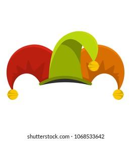 Circus jester fool hat icon. Flat illustration of circus jester fool hat vector icon for web