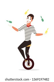 Circus juggler flat vector illustration. Mime artist riding unicycle cartoon character. Actor juggling with clubs. Amusement, entertainment industry. Cirque show performance isolated design element