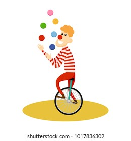 Circus juggler icon. Cartoon illustration of circus juggler. Vector isolated retro show flat icon for web