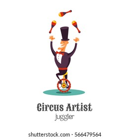 Circus juggler on a unicycle. Vector illustration. Isolated on a white background.