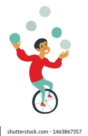 Circus juggler ride unicycle vector illustration. Funny juggler character cartoon hand drawn icon isolated on white background