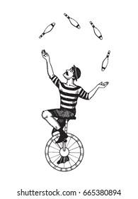 Circus juggler vector illustration. Scratch board style imitation. Hand drawn image.