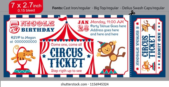 Circus kids party. Ticket invitation birthday. Clown, the tiger and the jumping monkey. blue