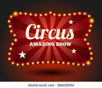 Circus lightbulb border. Vintage and entertainment, red and event, poster and advertisement, vector illustration
