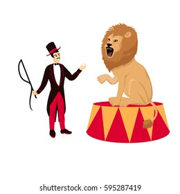 Circus lion with tamer