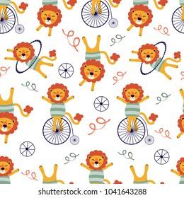 Circus lions seamless pattern