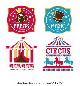Circus logo set. Freak or magic show banners. Striped tent with flags, horse carousel, magic hat, wand, bearded lady, vintage style lettering. Attractions, carnival and funfair vector illustration.