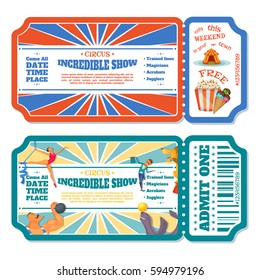 Circus magic show entrance tickets templates. Vector illustration