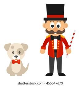 circus man and cartoon dog