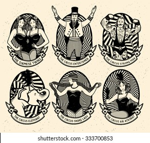 Circus. Monochrome icons collection.
