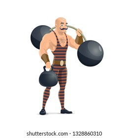 Circus muscle man with dumbbells in vintage striped costume. Retro big top circus strong man performer with iron barbell ball balls in show performance on cartoon arena