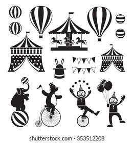 Circus Objects Icons Mono Set, Amusement Park, Carnival, Fun Fair festival