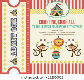 circus party card design. vector illustration
