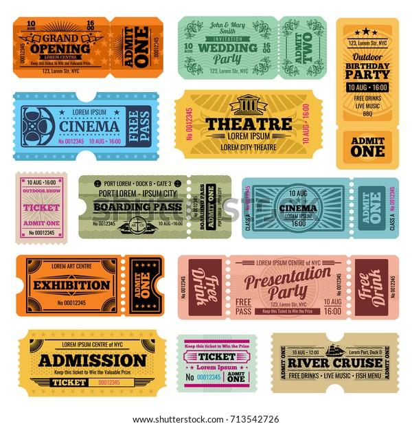 サーカス パーティー シネマベクタービンテージ入場券テンプレート 映画館 劇場 川のクルーズイラストへのレトロチケット コレクション のベクター画像素材 ロイヤリティフリー