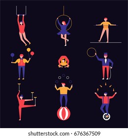 circus people character vector illustration flat design