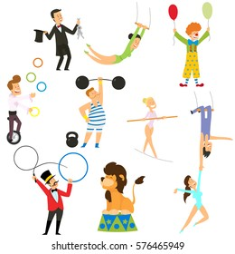 Circus performance decorative icons set with athlete animals magician. vector illustration in flat style.