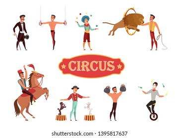 Circus performance flat vector illustration. Actors, performers cartoon characters set. Carnival, amusement theater. Entertainment show with stunts. Animal handlers, clowns, jugglers and athletes