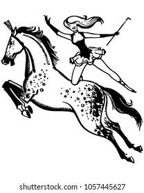 Circus Performer On Horse - Retro Clip Art Illustration