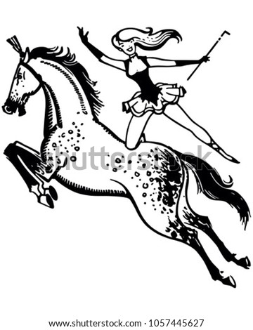 Circus Performer On Horse Retro Clip Stock Vector Royalty Free