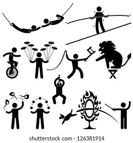 Circus Performers Acrobat Stunt Animal People Man Stick Figure Pictogram Icon