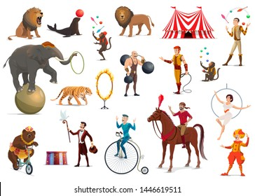 Circus performers and carnival top tent artists vector design. Cartoon clown, acrobat and strongman, trained elephant animal, lion and horse, juggler, magician and trapeze girl, juggling monkey, tamer
