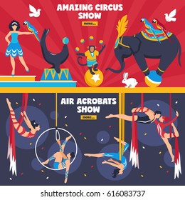 Circus performers horizontal banners set with flat dancing animals equilibrists hanging air acrobats with more button vector illustration