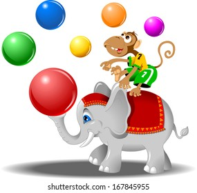 circus performers - monkey with balls and elephant, vector